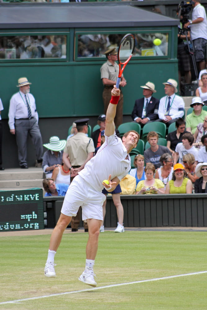 Andy Murray serving at Wimbledon