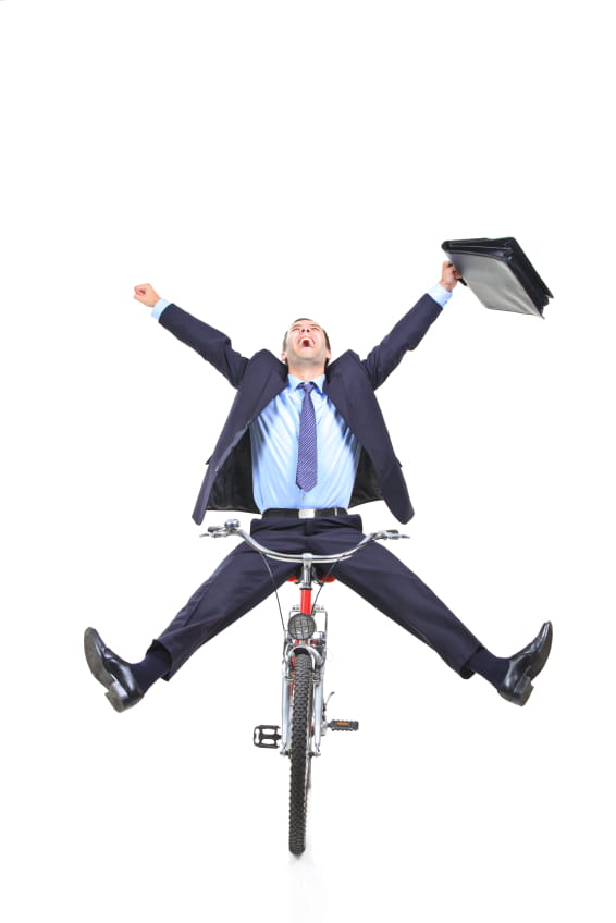 Crazy businessman in bike