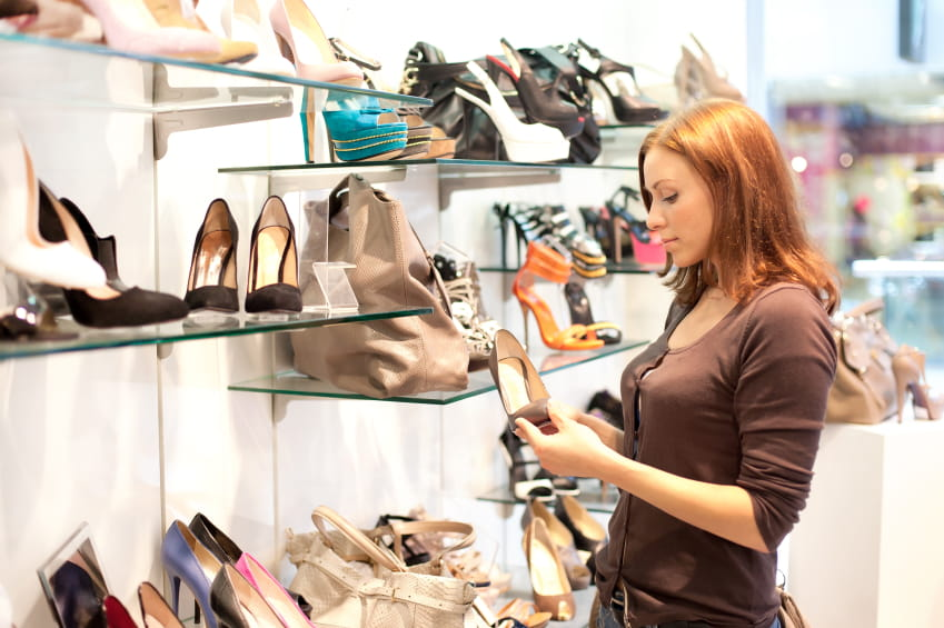 woman in shoe shop