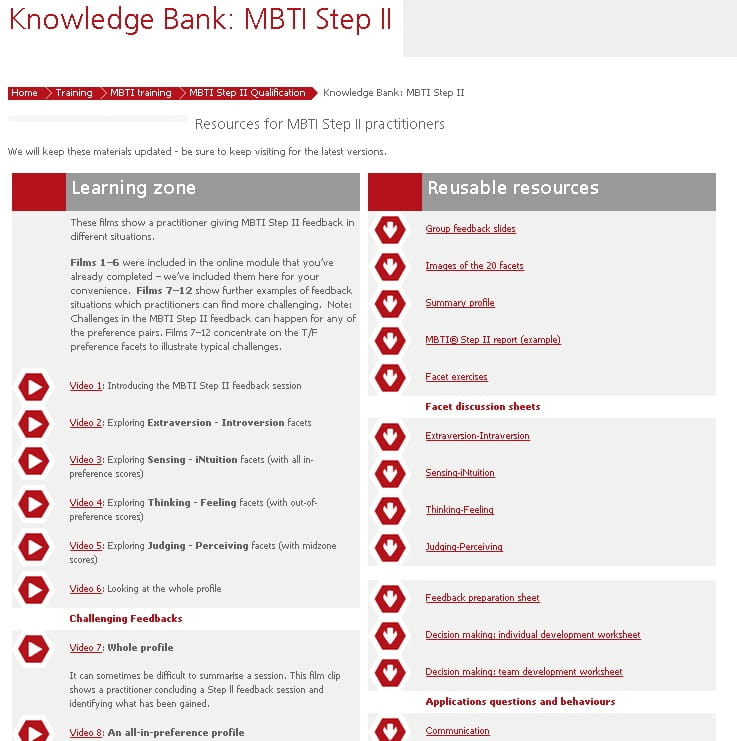 MBTI Step II knowledge bank screenshot