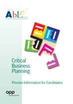 ABLE - Critical Business Planning - preview information for candidates