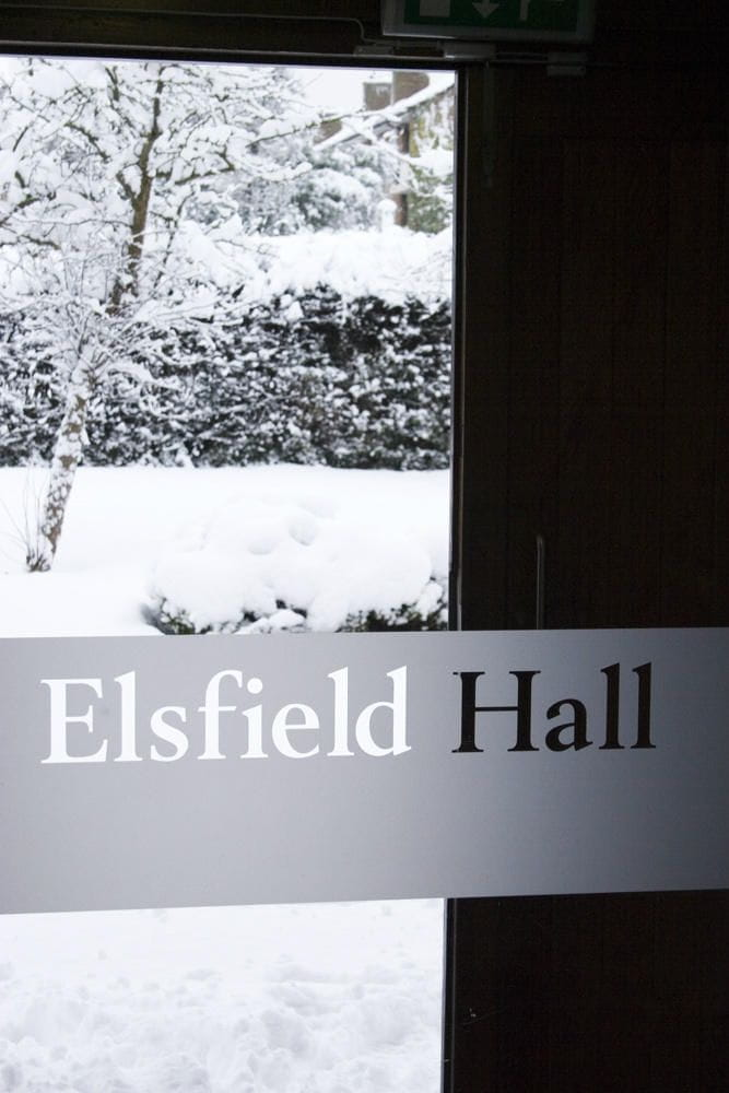 Elsfield Hall in the snow